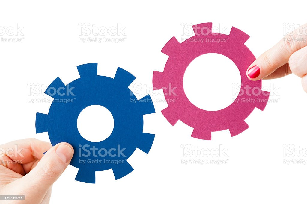 Relationship of male and female cogs royalty-free stock photo