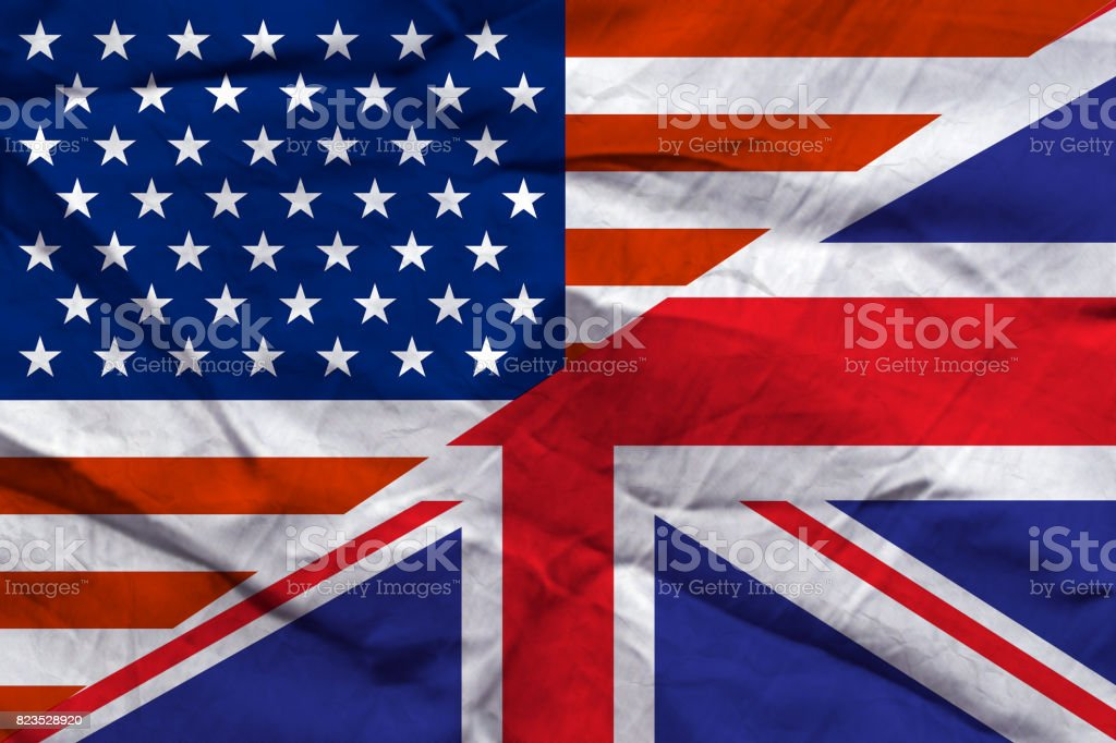 Relationship USA-UK flags paper background stock photo