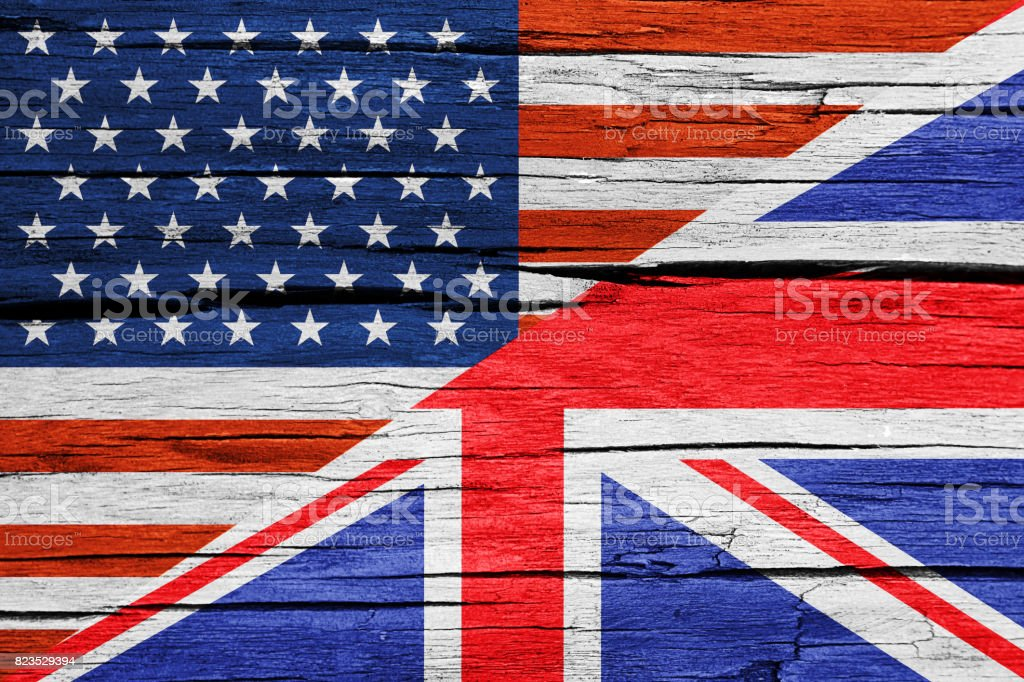 Relationship USA-UK flags wood background stock photo