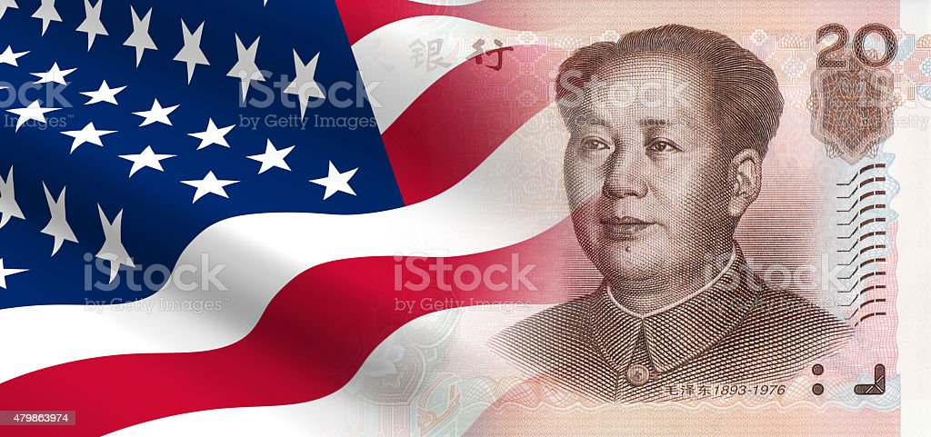 Relationships between the United States and China. stock photo