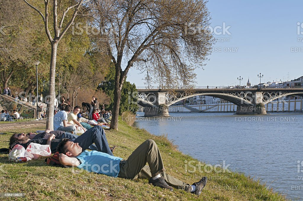 Relax along the riverside of Guadalquivir, Sevilla royalty-free stock photo