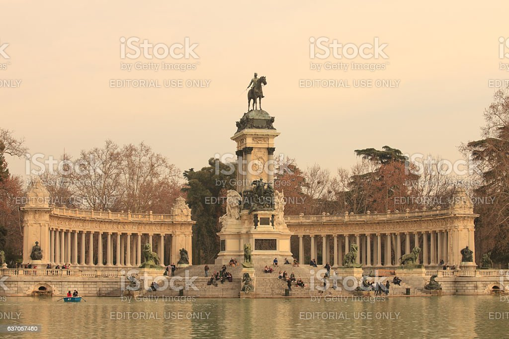 Relax at the lake in El Retiro stock photo