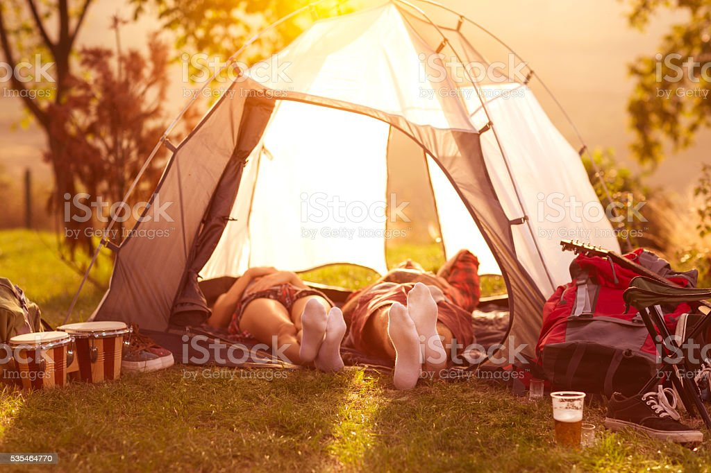Relax in campsite after hard day stock photo