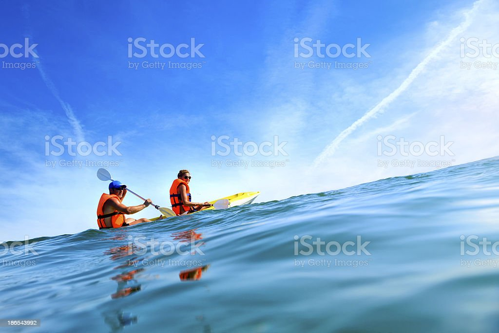 relax in canoe stock photo