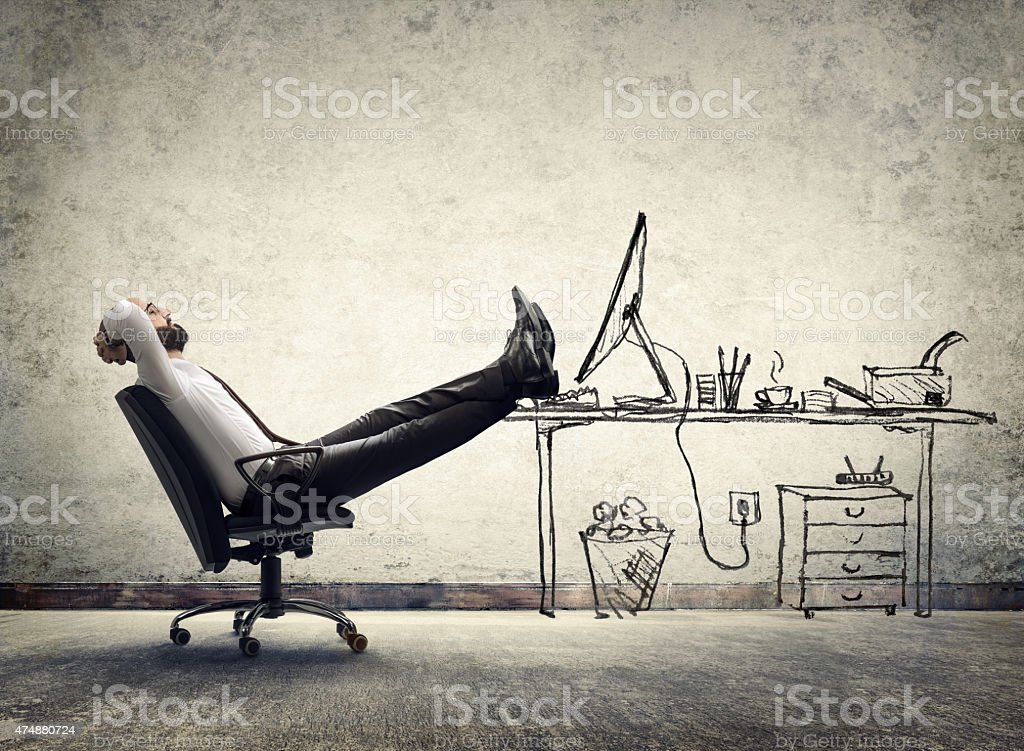 relax in office - businessman in break stock photo
