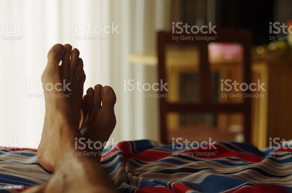 Relax in the bed stock photo