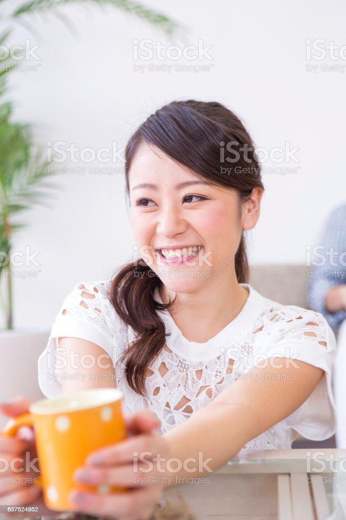 Relax in the indoor women stock photo