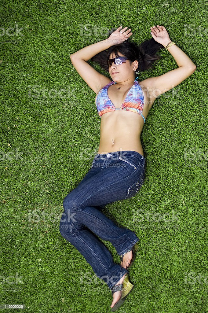 relax on grass royalty-free stock photo