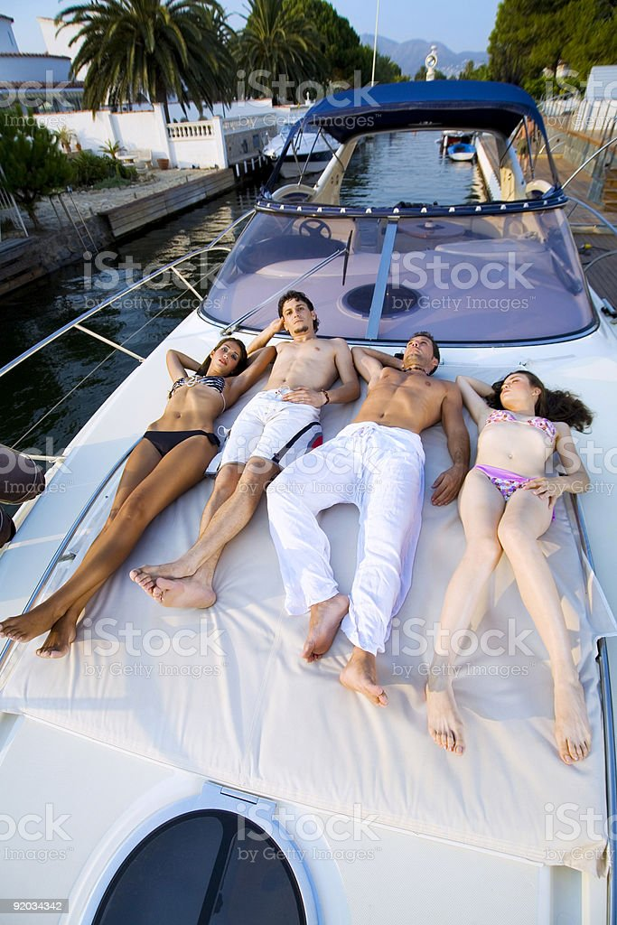 Relax on the yacht stock photo
