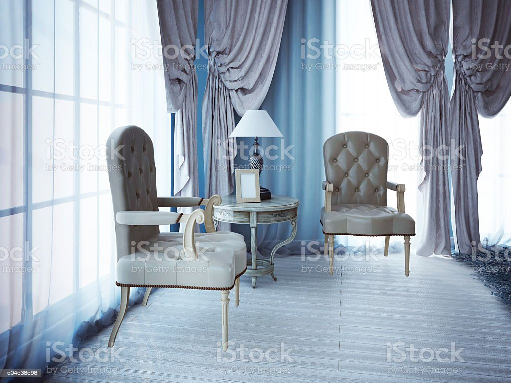 Relax place near window in bedroom stock photo