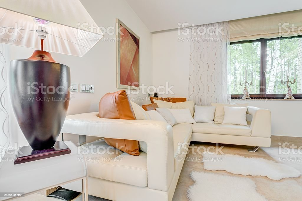 Relax space in splashy residence stock photo