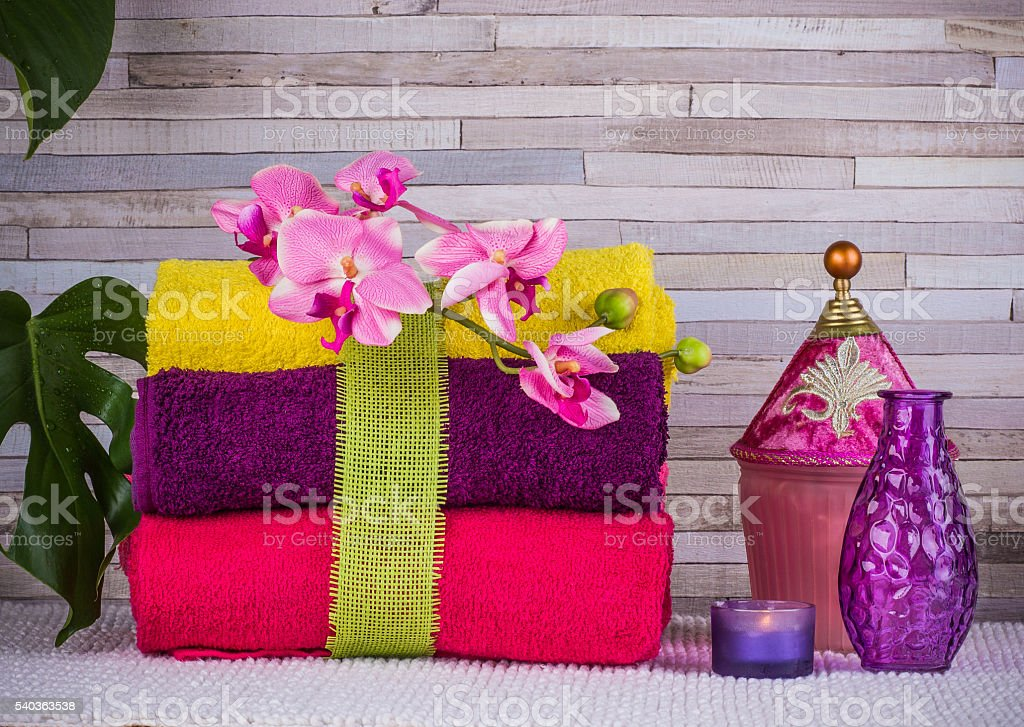 Relax time. Bundle of towels and bath set stock photo