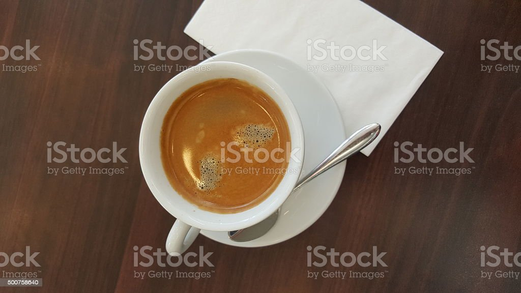 Relax time with a cup of hot espresso stock photo