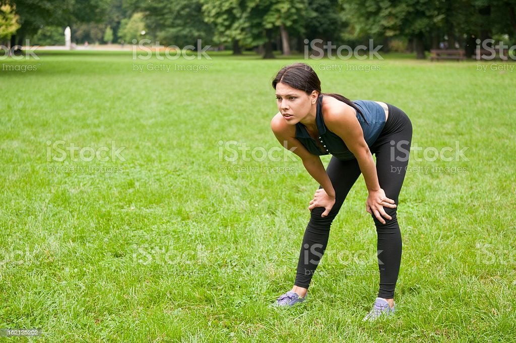 Relax - tired person after jogging royalty-free stock photo