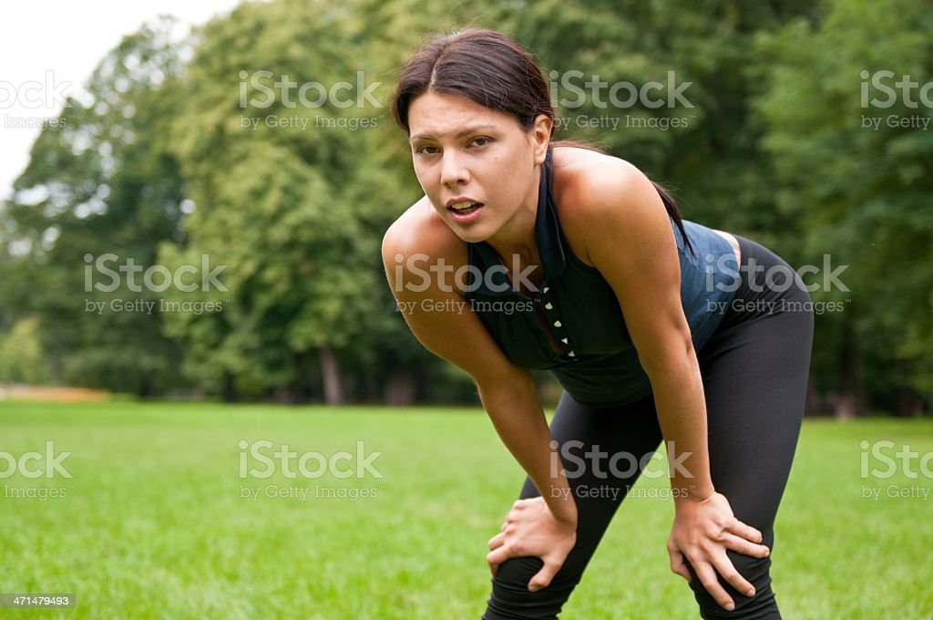 Relax - tired woman after sport royalty-free stock photo