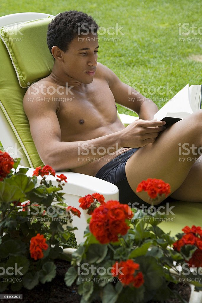Relax with a book royalty-free stock photo