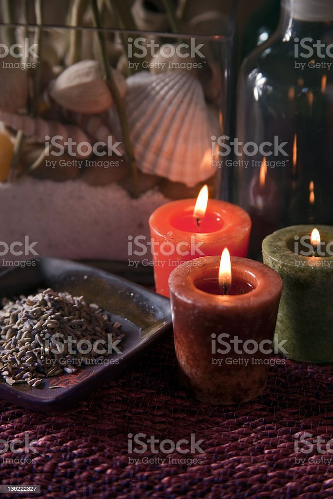 Relax with Aromatherapy Candles royalty-free stock photo