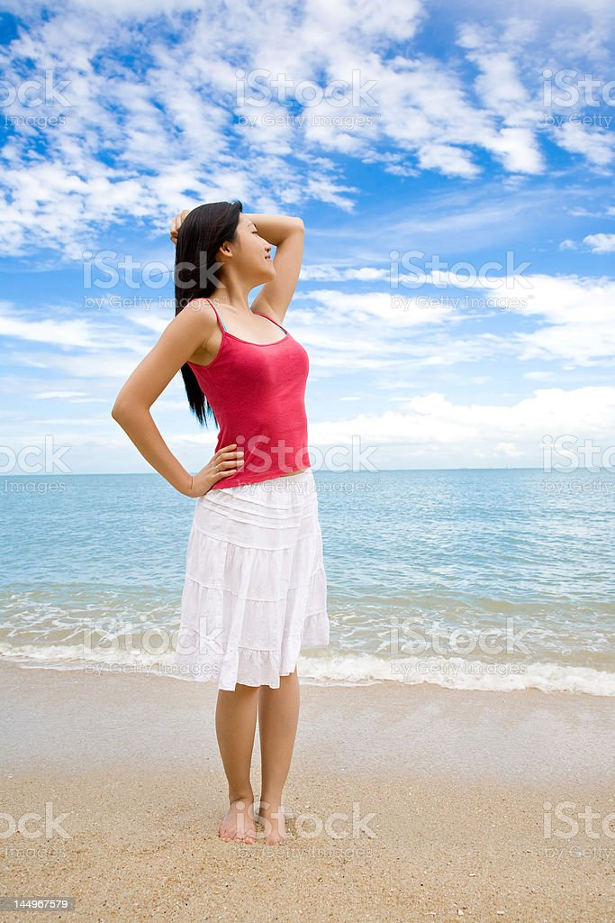 relax woman by the beach royalty-free stock photo