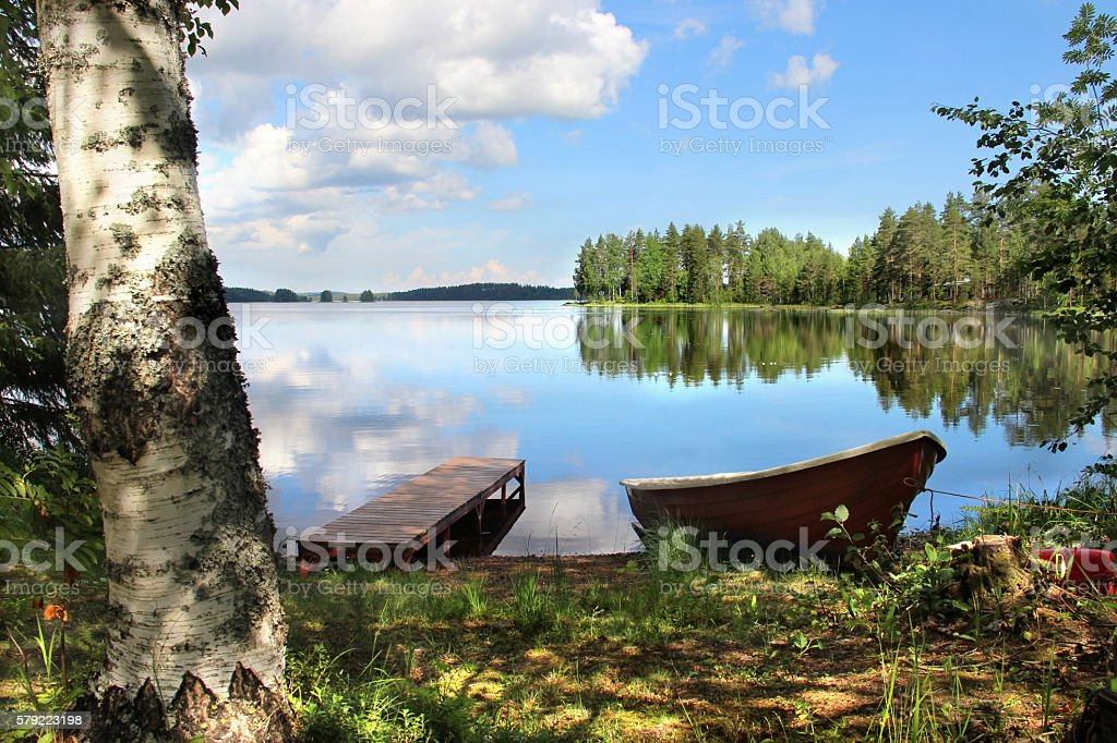 Relaxation and fishing in Finland stock photo