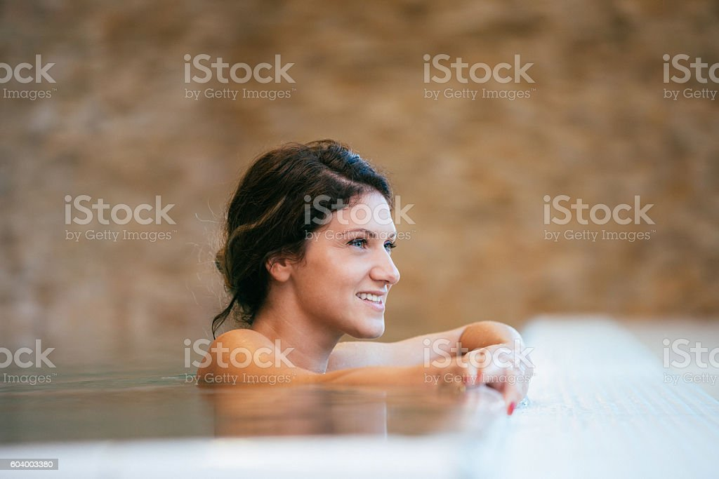 Relaxation and leisure time in swimming pool in spa stock photo