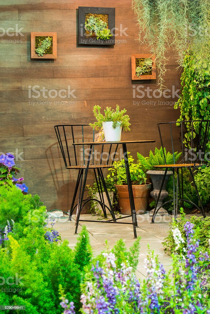 Relaxation area in a garden. stock photo