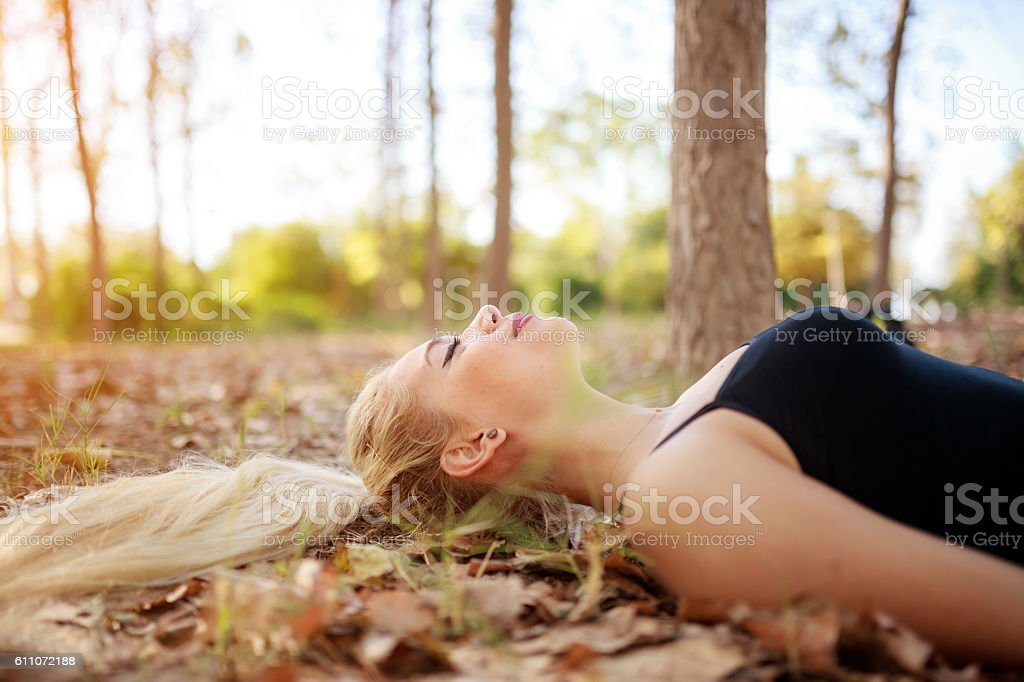 Relaxation At Forest stock photo
