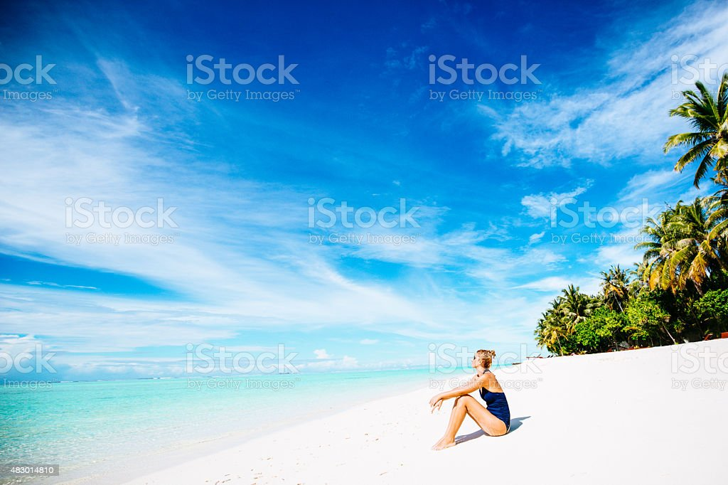 Relaxation at the beach stock photo