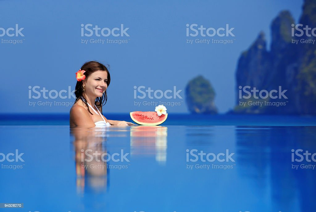 Relaxation on the pool. royalty-free stock photo