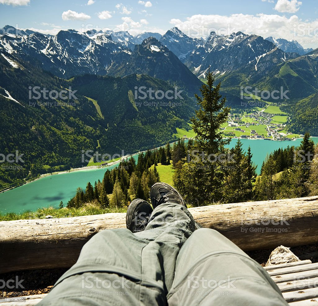 Relaxation on top of the mountain stock photo