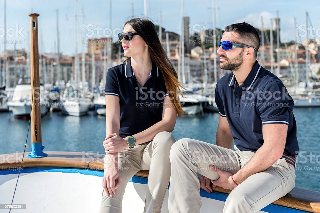 Relaxation on yacht stock photo