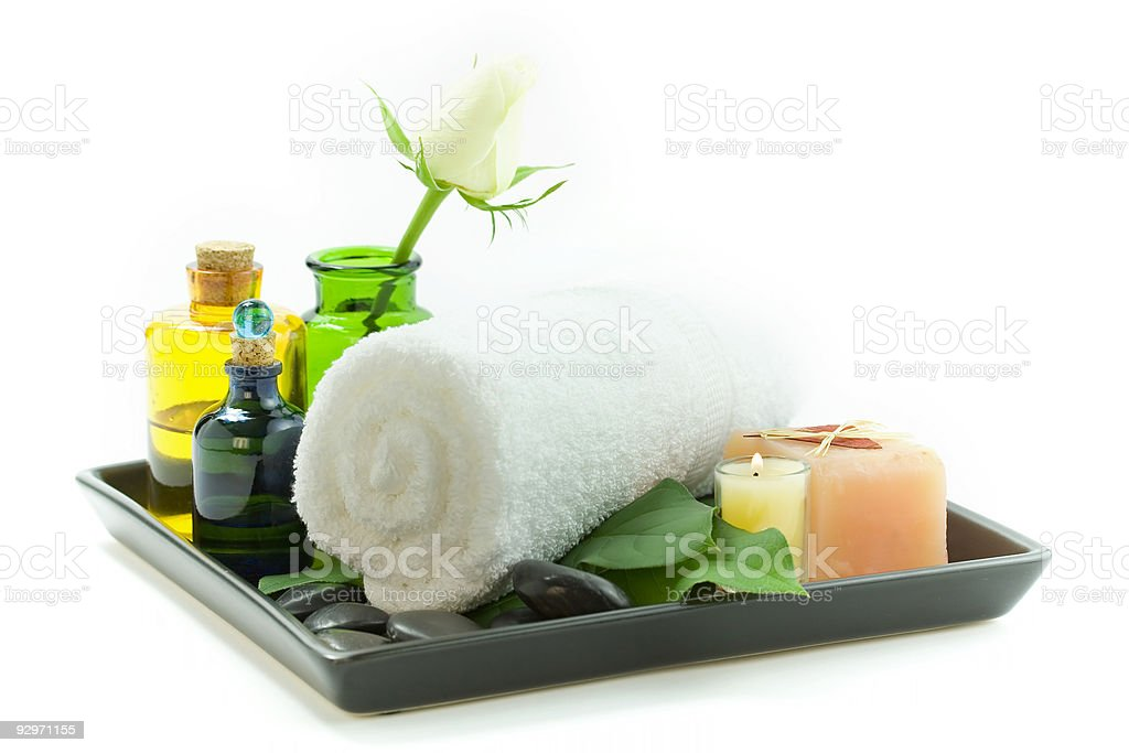 Relaxation spa set on a tray royalty-free stock photo
