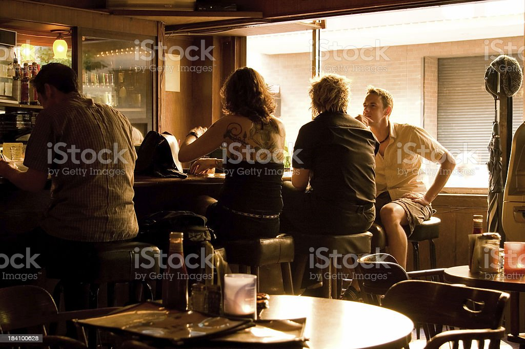 Relaxed and Pleasant Bar with Natural Light stock photo