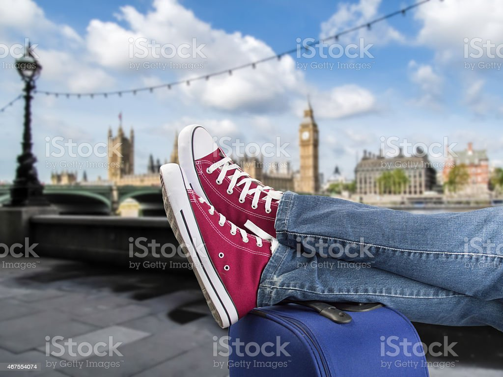 relaxed arrival in london stock photo