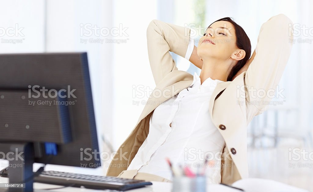 Relaxed business woman royalty-free stock photo