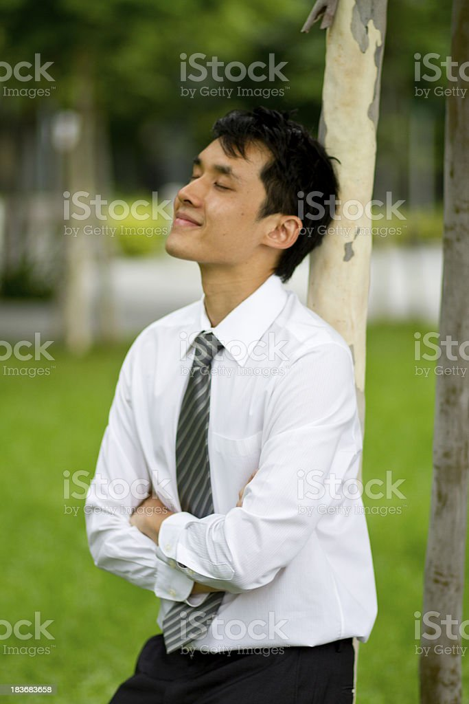 Relaxed businessman leaning against tree trunk royalty-free stock photo