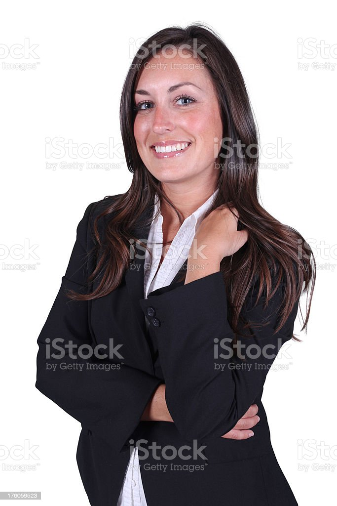 Relaxed businesswoman folding arms royalty-free stock photo