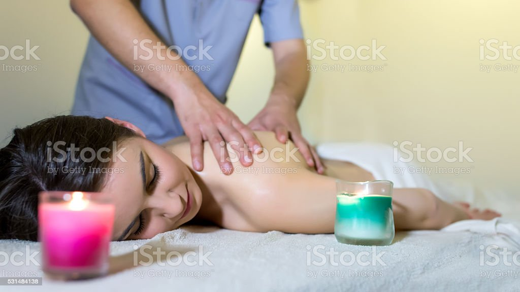 Relaxed by magical hands stock photo