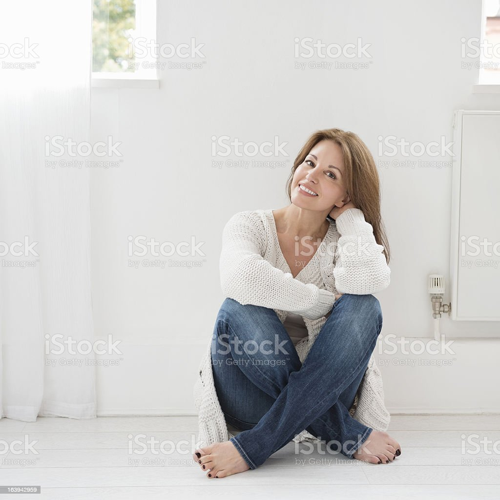 Relaxed casual portrait of attractive woman stock photo