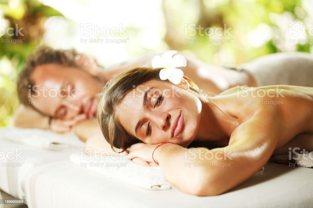 Relaxed couple at a spa centre royalty-free stock photo