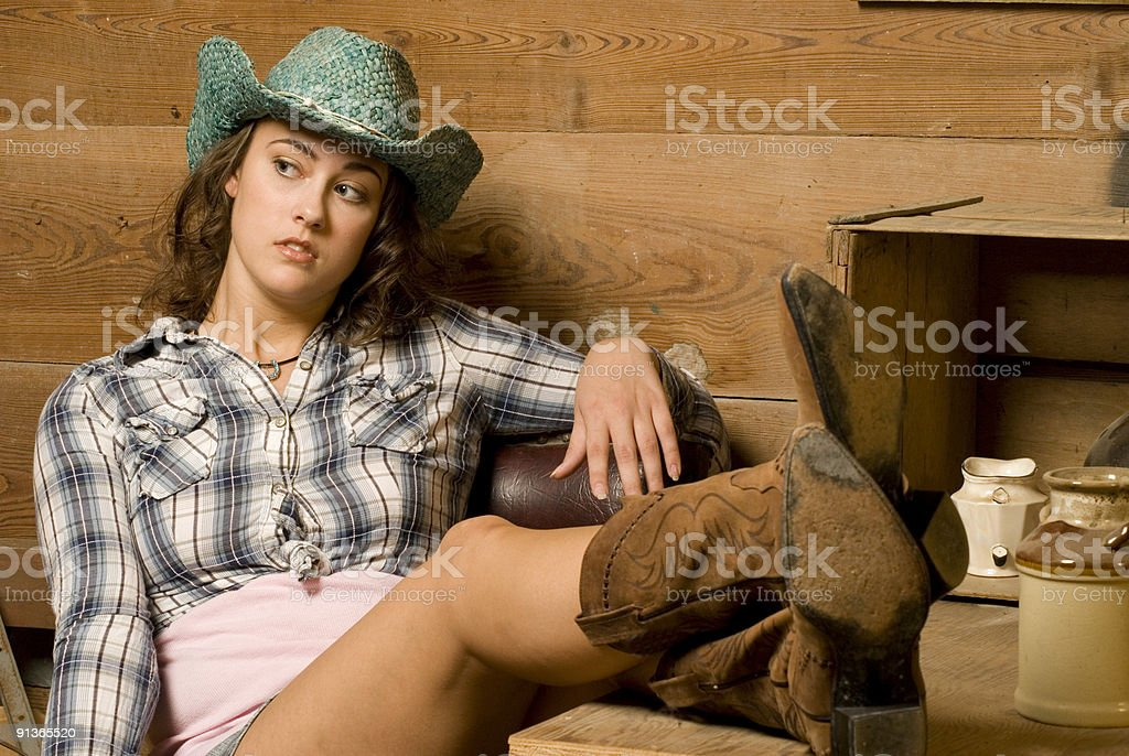 Relaxed Cowgirl stock photo