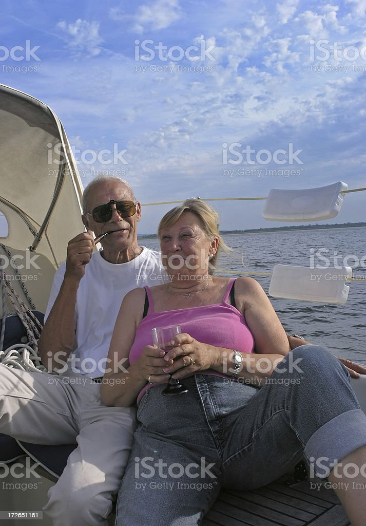 Relaxed elderly couple royalty-free stock photo