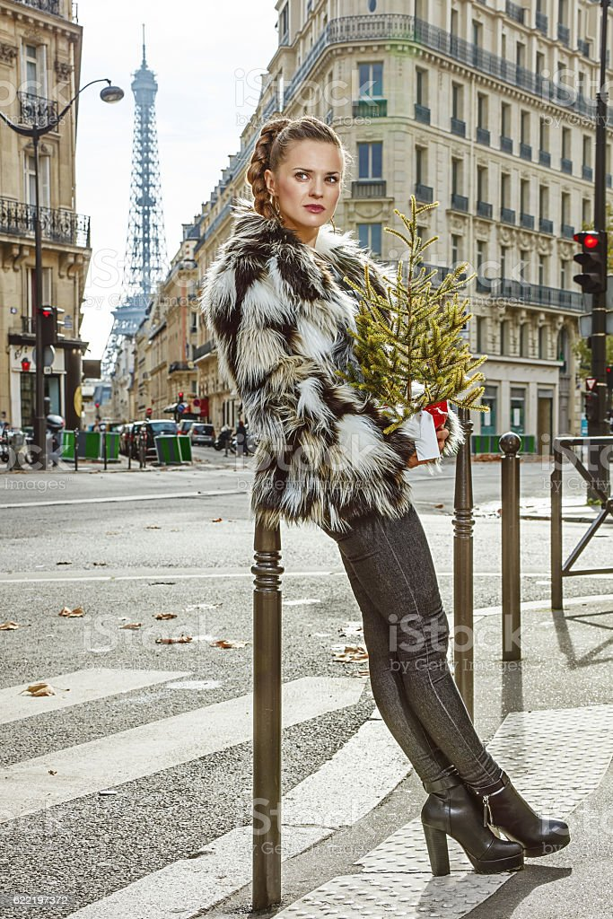 relaxed fashion-monger with Christmas tree looking aside, Paris stock photo