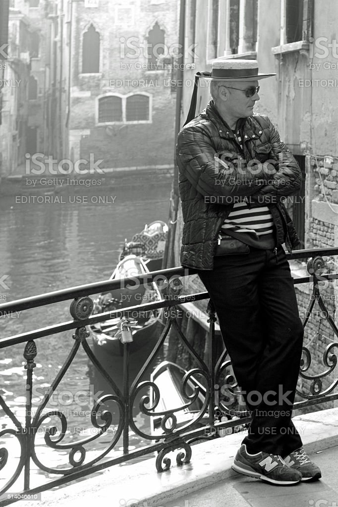 Relaxed gondolier stock photo