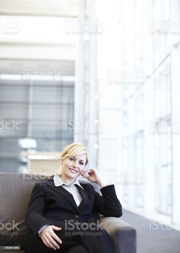 Relaxed in the departure lounge royalty-free stock photo