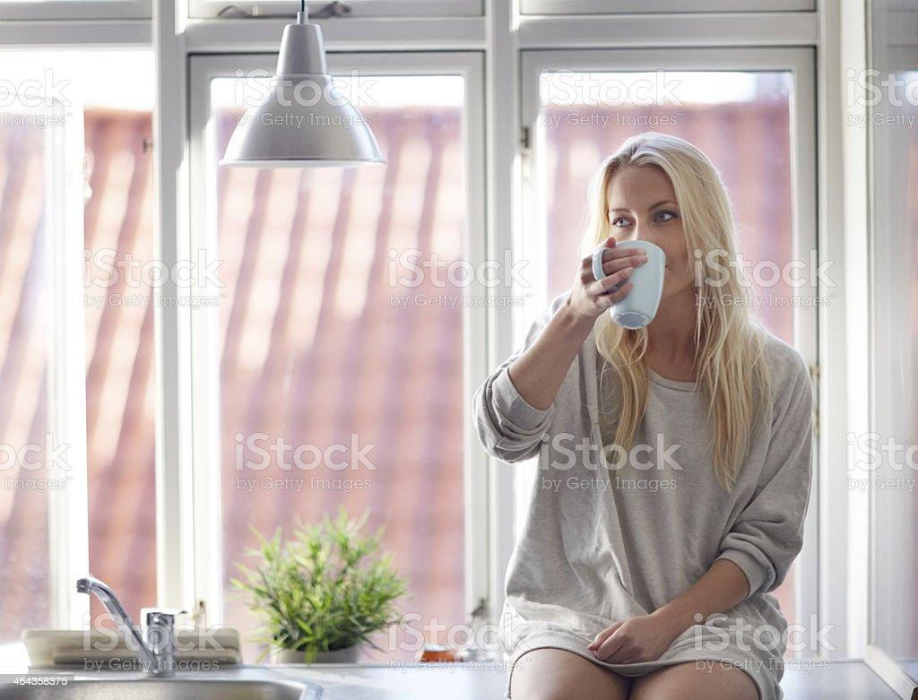 Relaxed in the morning royalty-free stock photo