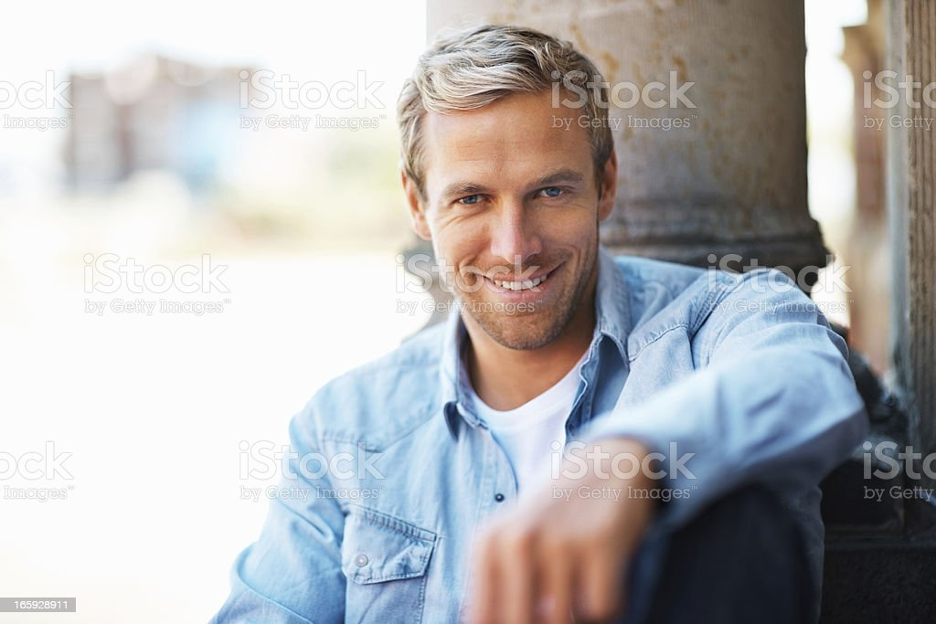 Relaxed man smiling royalty-free stock photo