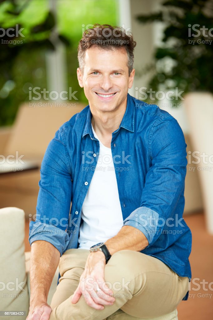 Relaxed mature man stock photo
