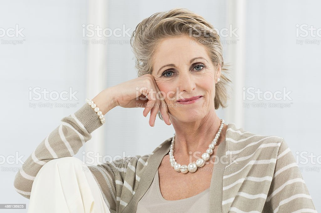 Relaxed Mature Woman stock photo