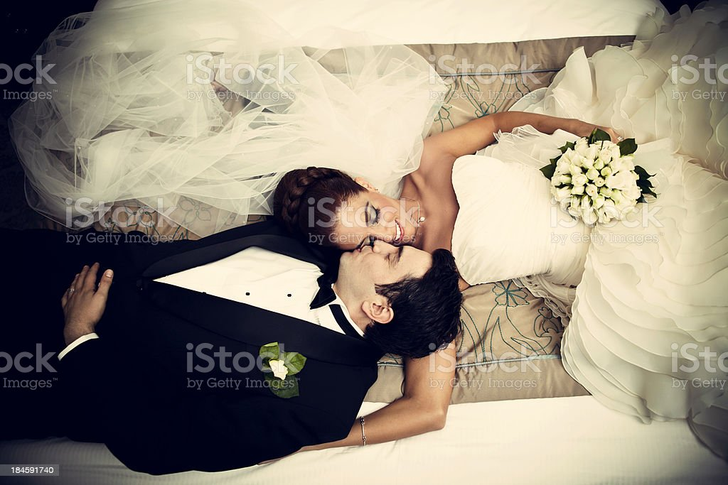 Relaxed newlyweds stock photo