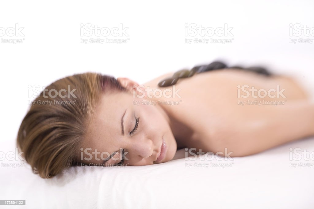 Relaxed on Massage Table stock photo